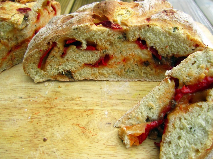 Red Pepper, Thyme and Anchovy Damper Bread