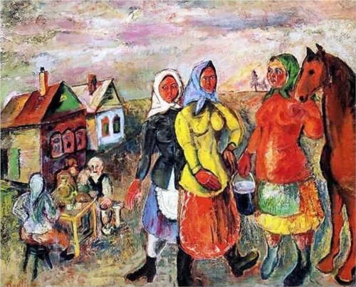 David Burliuk (1882 1967)   Naïve Art (Primitivism)   In a Russian Village - 1926