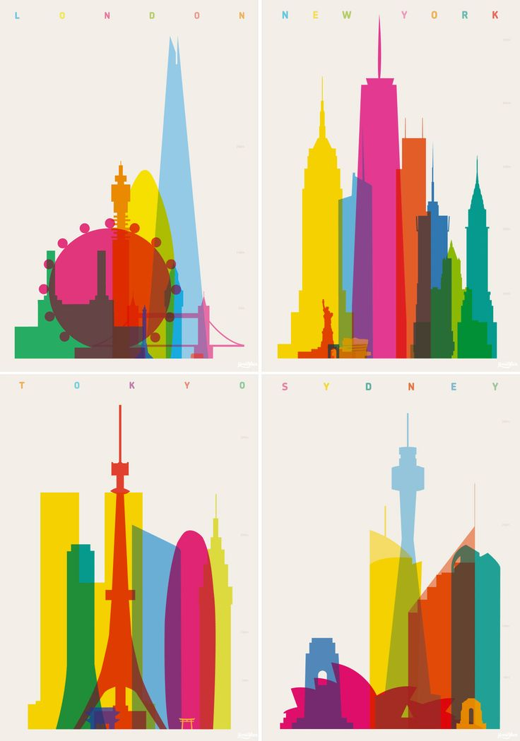 Colorful City Silhouette Prints by Yoni Alter                                                                                                                                                     More