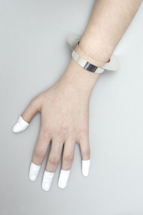 Jessie Harris Ledge Cuff Painted fingertips against skin