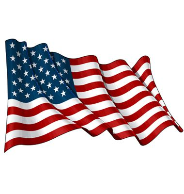Illustration of a waving American flag against white background