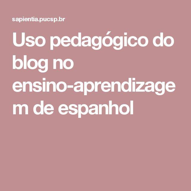 Uso pedagógico do blog no ensino-aprendizagem de espanhol