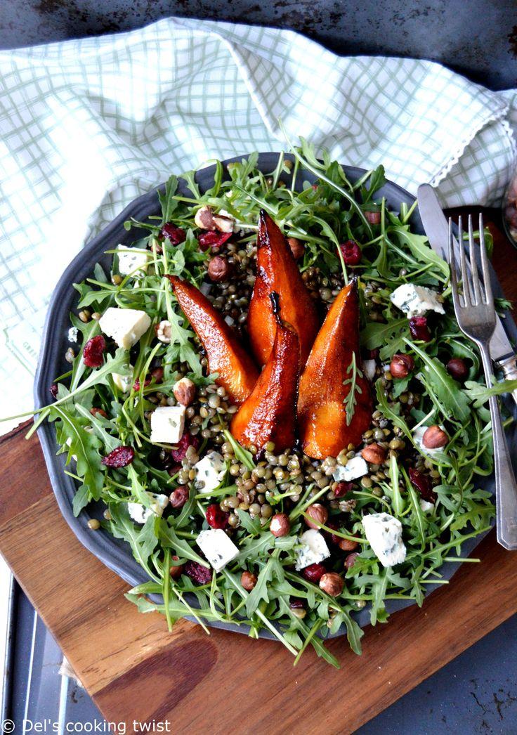 Une jolie salade de lentilles d'hiver au bleu et aux poires caramélisées. | Del's cooking twist
