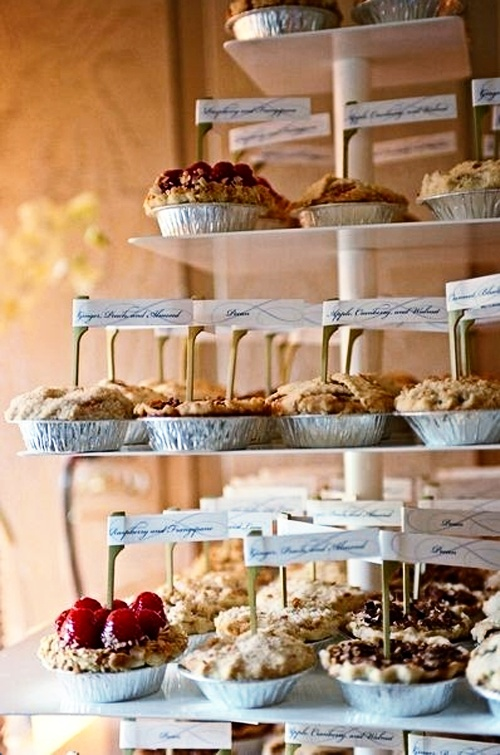 I'm kinda digging the idea of mini pies and cupcakes instead of a wedding cake.