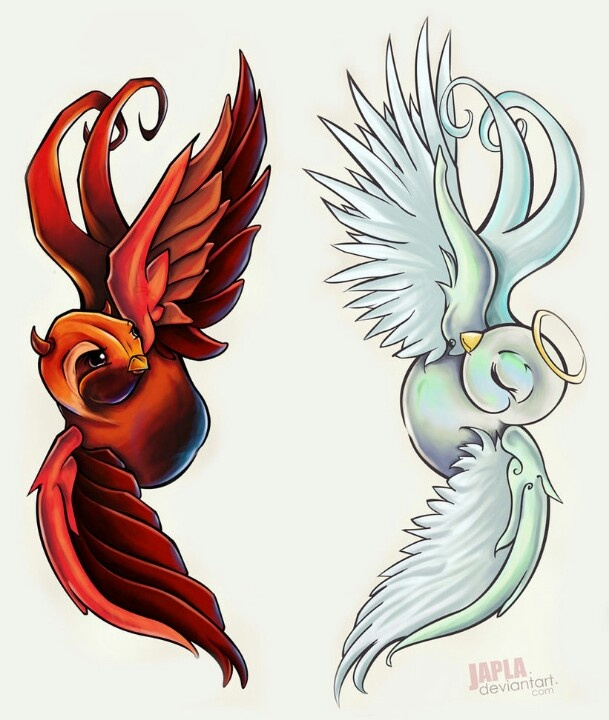 Angel & Devil birds tattoo idea