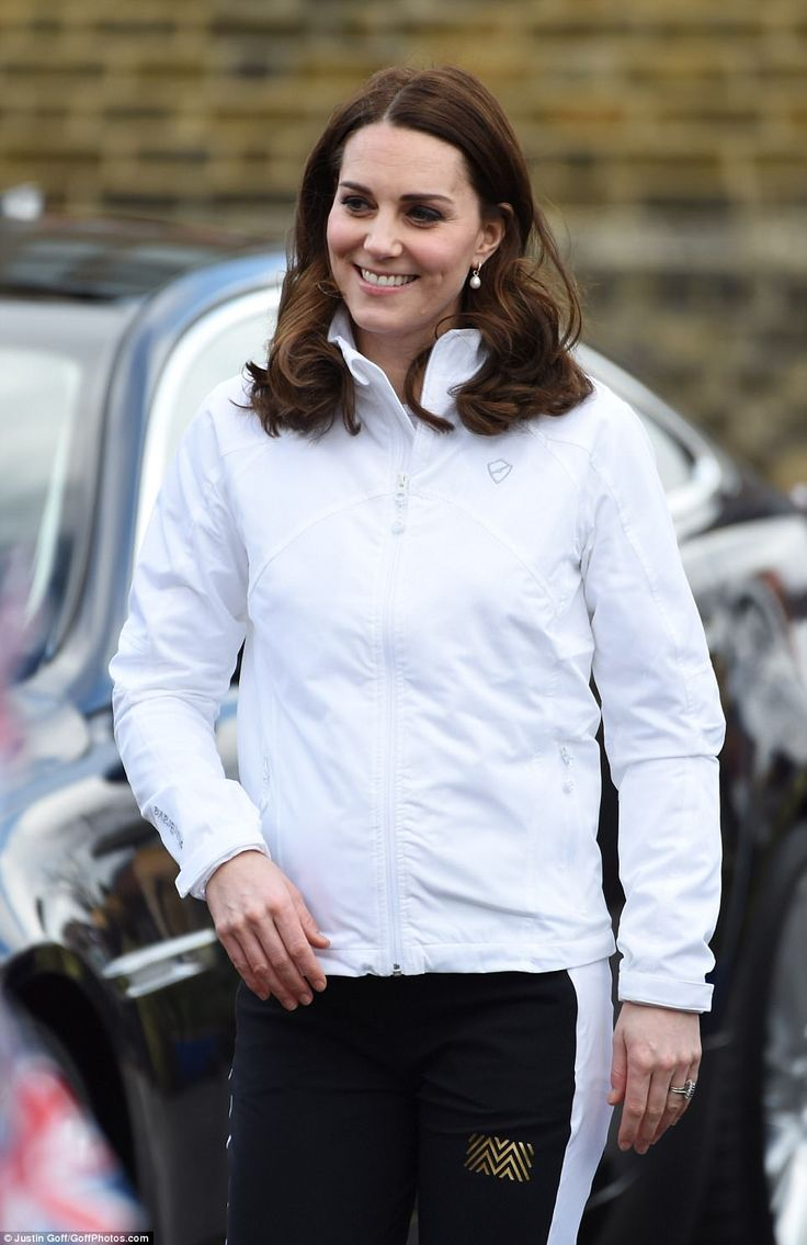 The Duchess' baby bump was barely visible in her second ensemble of the day - luxury jogge...
