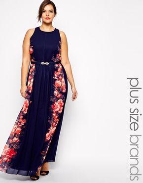 Little Mistress Plus Floral Placement Maxi Dress - Asos Plus navy and peach floral full length dress gown