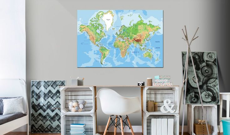 Obraz na korku - World Geography #mapart #domov #decor #korek #design #travel #pin #wall #cork #worldmap