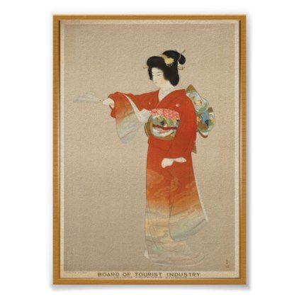 Kimono Japan Vintage Travel Poster - wedding decor marriage design diy cyo party idea