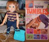 """1968 Tippy Tumbles, 16"""" tall, vinyl doll, rooted red hair, does somersaults, battery operated."""