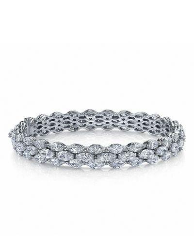 Three-row marquise diamond bangle