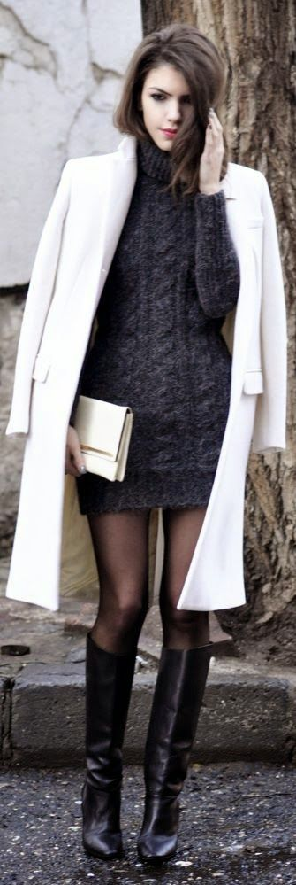 White and Grey Fall Street Outfits