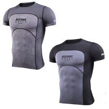 Mens Gymshark Base Layer Bodybuilding T-shirt Workout Sport Running Joggers Tops