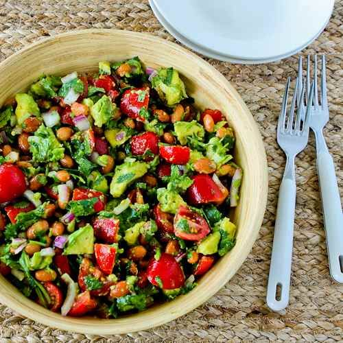 Pinto Bean Salad Recipe with Avocado, Tomatoes, Red Onion, and Cilantro from Kalyn's Kitchen