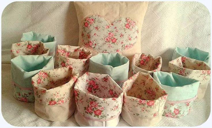 paneras tela de arpillera lienzo colores flores reversibles