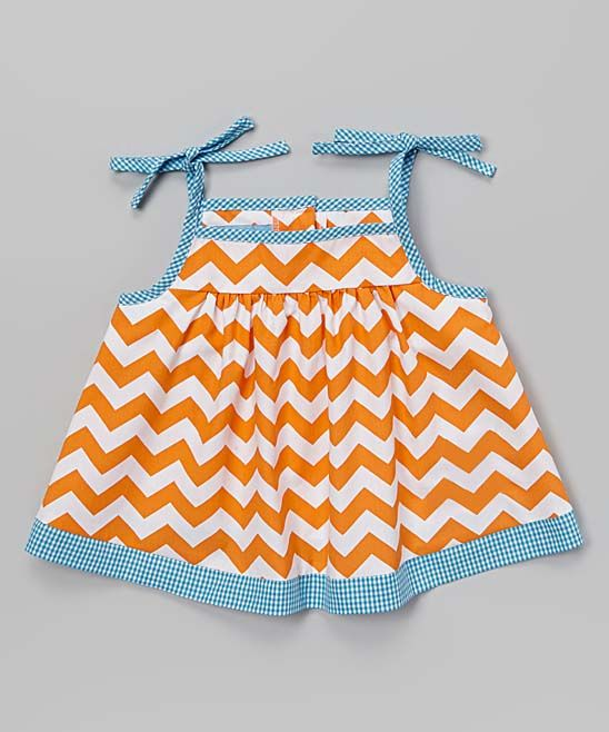 Orange Chevron Initial Tie-Shoulder Top - Toddler
