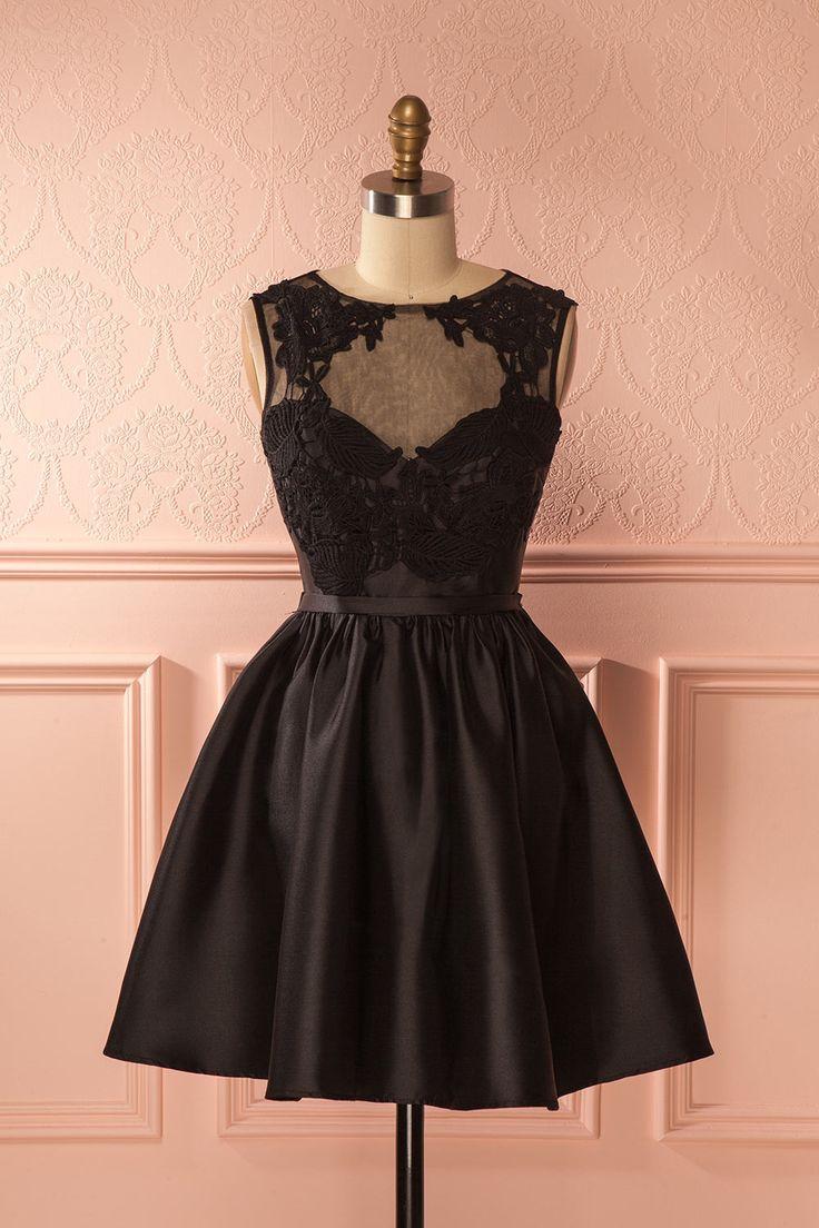 Robe de bal noire satinée - Black silky prom dress