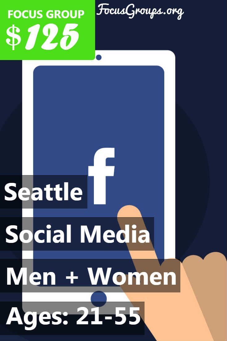 Fieldwork Seattle is looking for people age 21-55 to participate in paid focus groups on Social Media. The groups will take place in our Downtown Seattle office on Monday, June 5th or Tuesday, June 6th. The groups will last 1 hour and 45 minutes, and you will receive a $125 prepaid Visa card for your participation. If you are interested in participating, please sign up and take the survey to see if you qualify! If your answers fit with what our client is looking for, we will call you to…