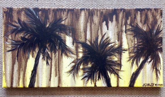 "Original ""Chocolate Rain"" Milk chocolate brown drips and palm trees with yellow accents. By ArtRoom278. Easy to hang. approx size 20 x 10. $20.00"