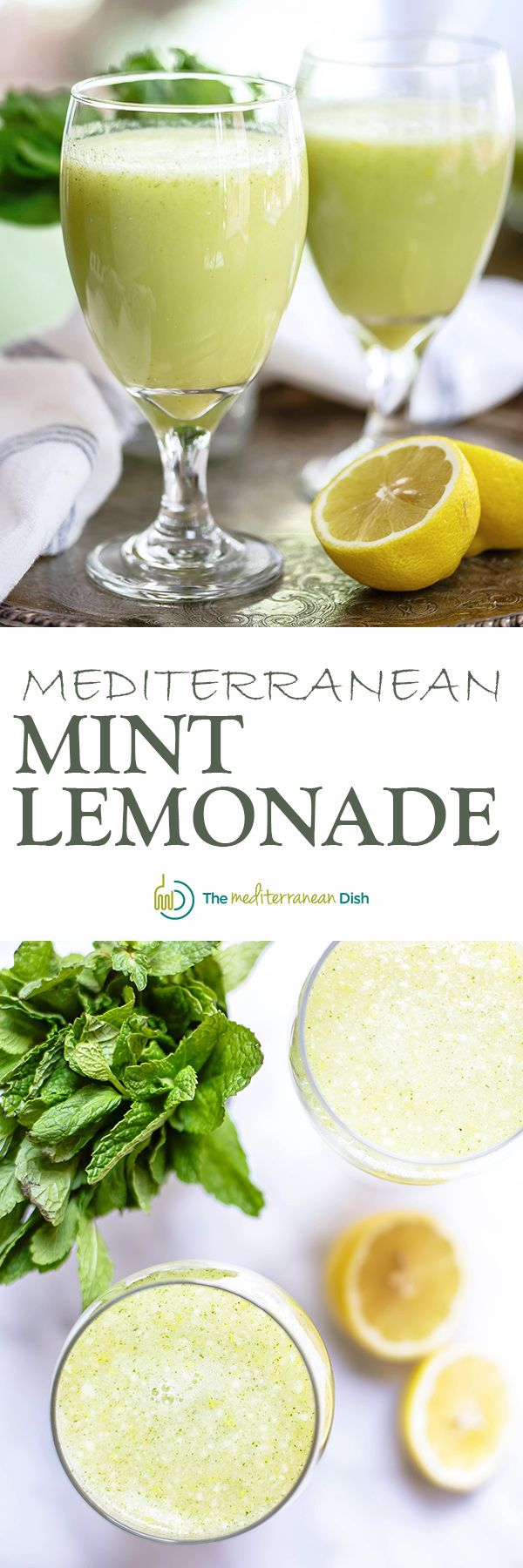 Mediterranean-Style Mint Lemonade | The Mediterranean Dish. An intense, frothy, perfectly refreshing homemade lemonade. There is a small trick that makes all the difference! See the recipe on TheMediterraneanDish.com