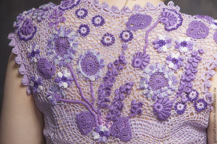 Купить Платье Сиреневые сны - сиреневый, цветочный, ирландское кружево, ирландское вязание, ирландские кружева