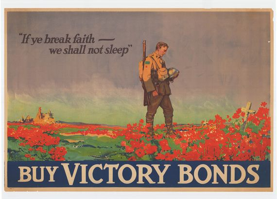 (The Canadian War Department used McCrae's poem to get war loans. The painting was made by Frank Lucien Nicolet. Source: http://www.flandersfieldsmusic.com/ww1-photos.html)  Remembrance Poppies: Flower Power at the London Tower | Shumon Sengupta