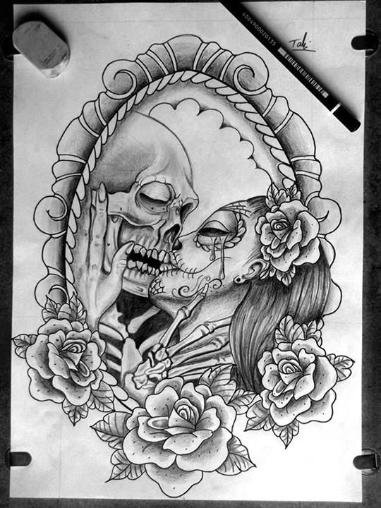 catrina and skull sketch tattoo