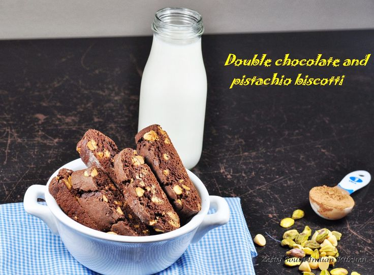 Double chocolate and pistachio biscotti, very easy to put together and ...