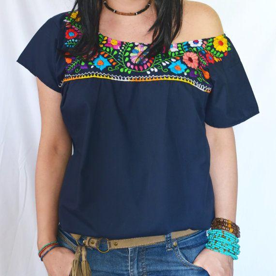 Blusa mexicana, túnica bordada a mano, hermoso colorido, flores mexicanas hippie, folk