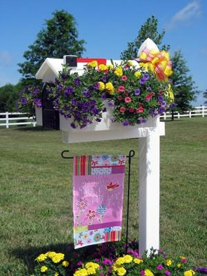 this is such a cool idea having planters on either side of your mailbox to put flowers in