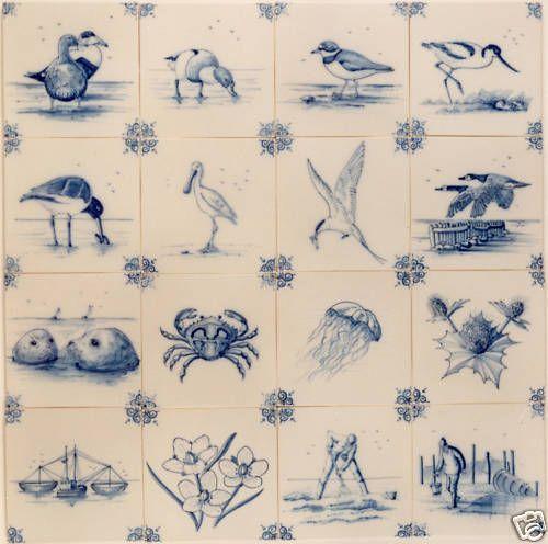 Delfter Kacheln, Wattenmeer, Delft blau/weiß, Fliesen