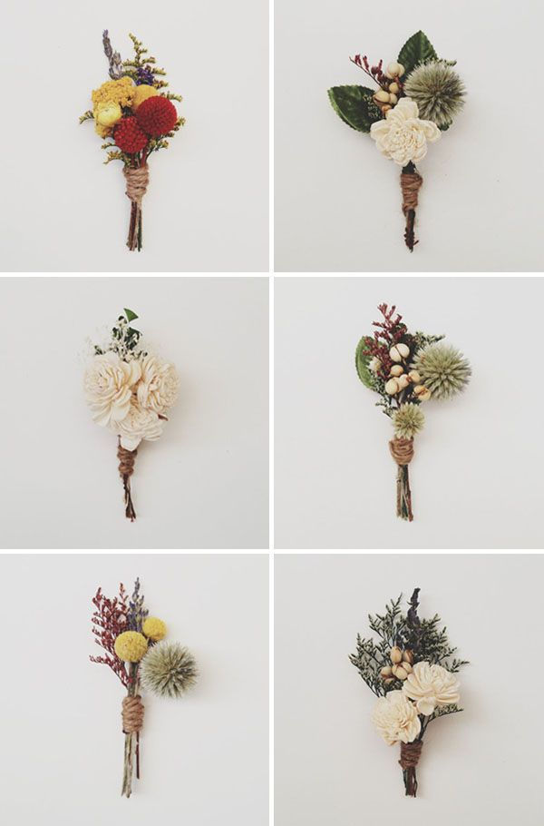 preserved flower boutonnieres [http://www.etsy.com/shop/ThreeLittleBirds1222?section_id=11993724] #boutonniere