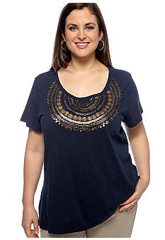 Lucky Brand Plus Size Metal Beaded Top