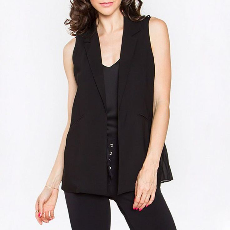 Sleeveless Blazer with Pleated Inset