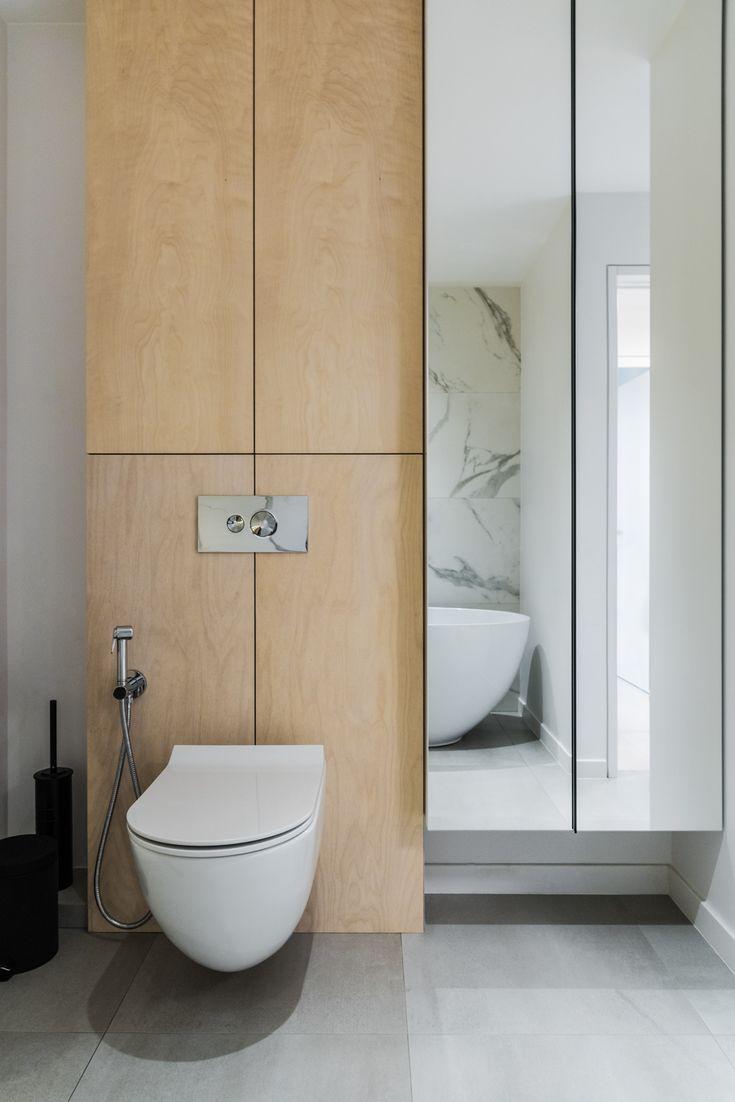 Marble and plywood bathroom design Interior
