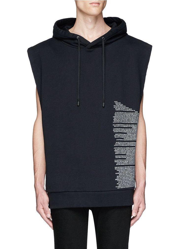PUBLIC SCHOOL 'Aderman' text print sleeveless hoodie. #publicschool #cloth #hoodie