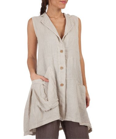 Loving this Beige Linen Buton-Up Tunic on #zulily! #zulilyfinds