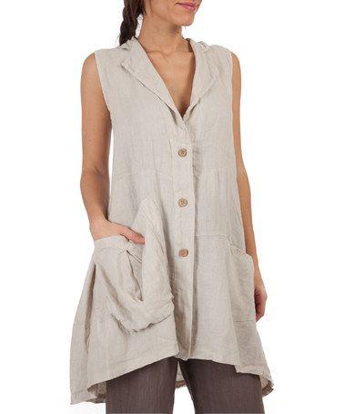 Loving this Beige Linen Buton-Up Tunic on #zulily! #zulilyfinds