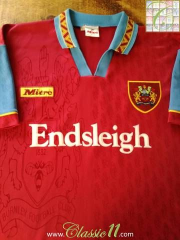 Official Mitre Burnley home football shirt from the 1995/96 season.