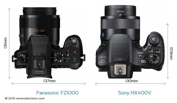 Panasonic FZ1000 vs Sony HX400V Camera Size Comparison - Top View