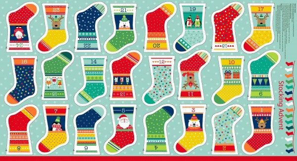 Novelty Mini Stockings Christmas Advent Calendar Fabric Panel Bunting Makower