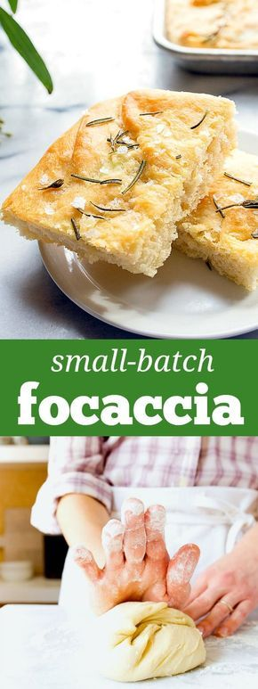 Homemade rosemary and sea salt focaccia bread. Small batch bread recipe. Yeast bread recipe from scratch. Small batch focaccia for two people.