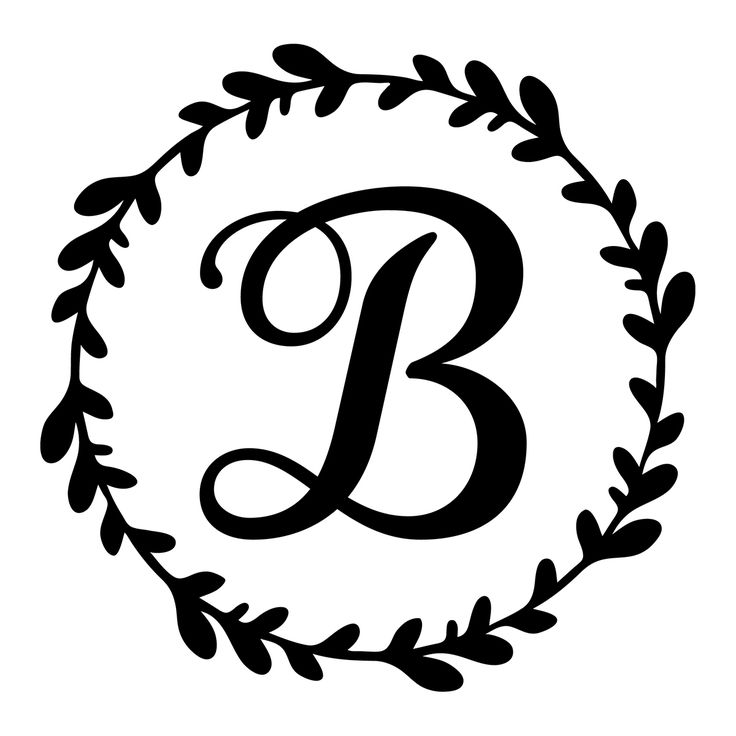 Monogram initial vine wreath vinyl decal – RKCreative LLC