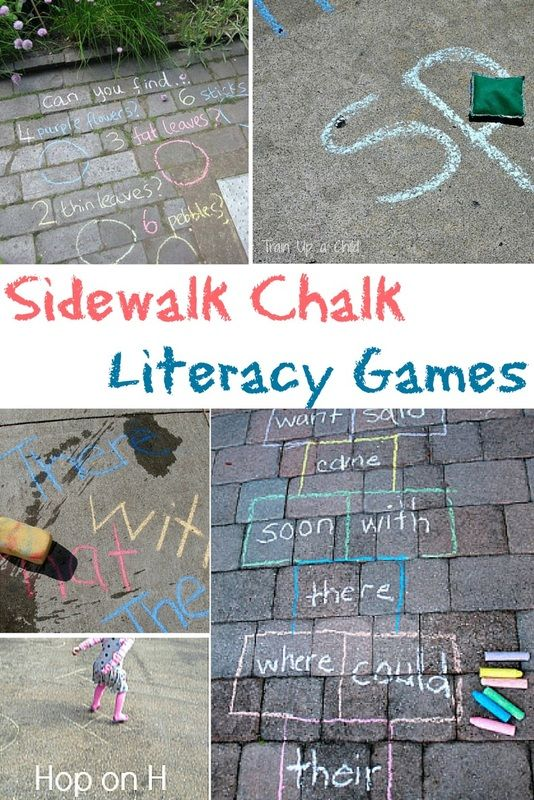 Playful early literacy games with sidewalk chalk - for letters, sight words and more!