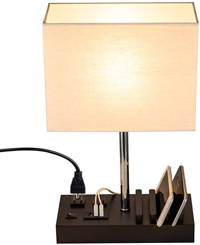 Amazon Com Usb Table Lamp Briever Multi Functional Desk Lamp With 3 Usb Charging Ports And Phone Charge Dock Black Wood C Bedside Desk Lamps Lamp Table Lamp