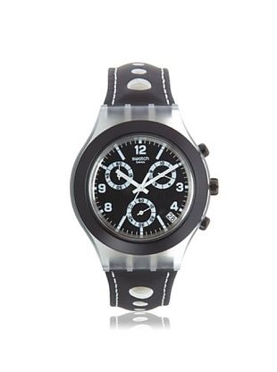 38% OFF Swatch Men's SVCK4072 Black Leather Watch
