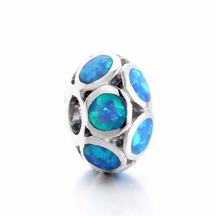 Bead con cerchi di mare cristalli di cristalli blu Argento sterling 925 adatta misure Pandora charm Pandora bead Braccialetto europeo FX006 di OceanBijoux su Etsy