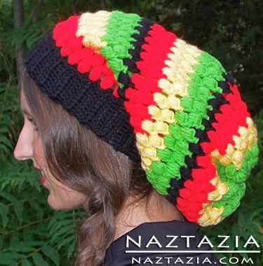 Free Pattern- - Crochet Slouchy Rasta Bob Marley Hat  ab6efb8b7a6