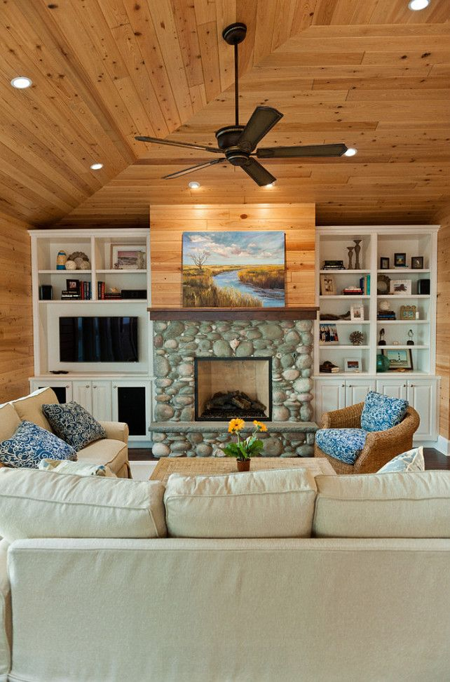 Beach House with Casual Coastal Interiors   River rock ... on Fireplace Casual Living id=63749