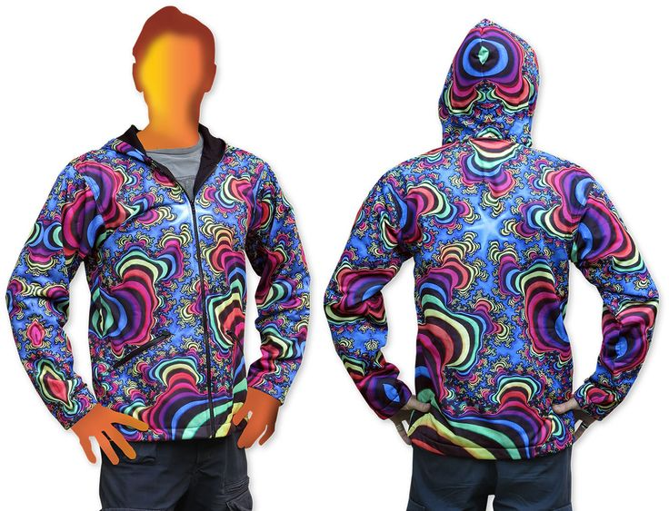 Sublime Hooded Jacket : Rainbow Valley Fractal Printed using sublimation printing on a high quality polyester fleece. This allows for extremely vibrant colors that will never fade away and results in an extremely soft 'feel' to the jacket, providing ultimate comfort. Fully lined with black fabric. 2 outside zip pockets and 2 inside zip pockets. Secret stash pocket label ! Not printed with UV inks, but printed on UV active fabric, so there is some effect under the blacklight.